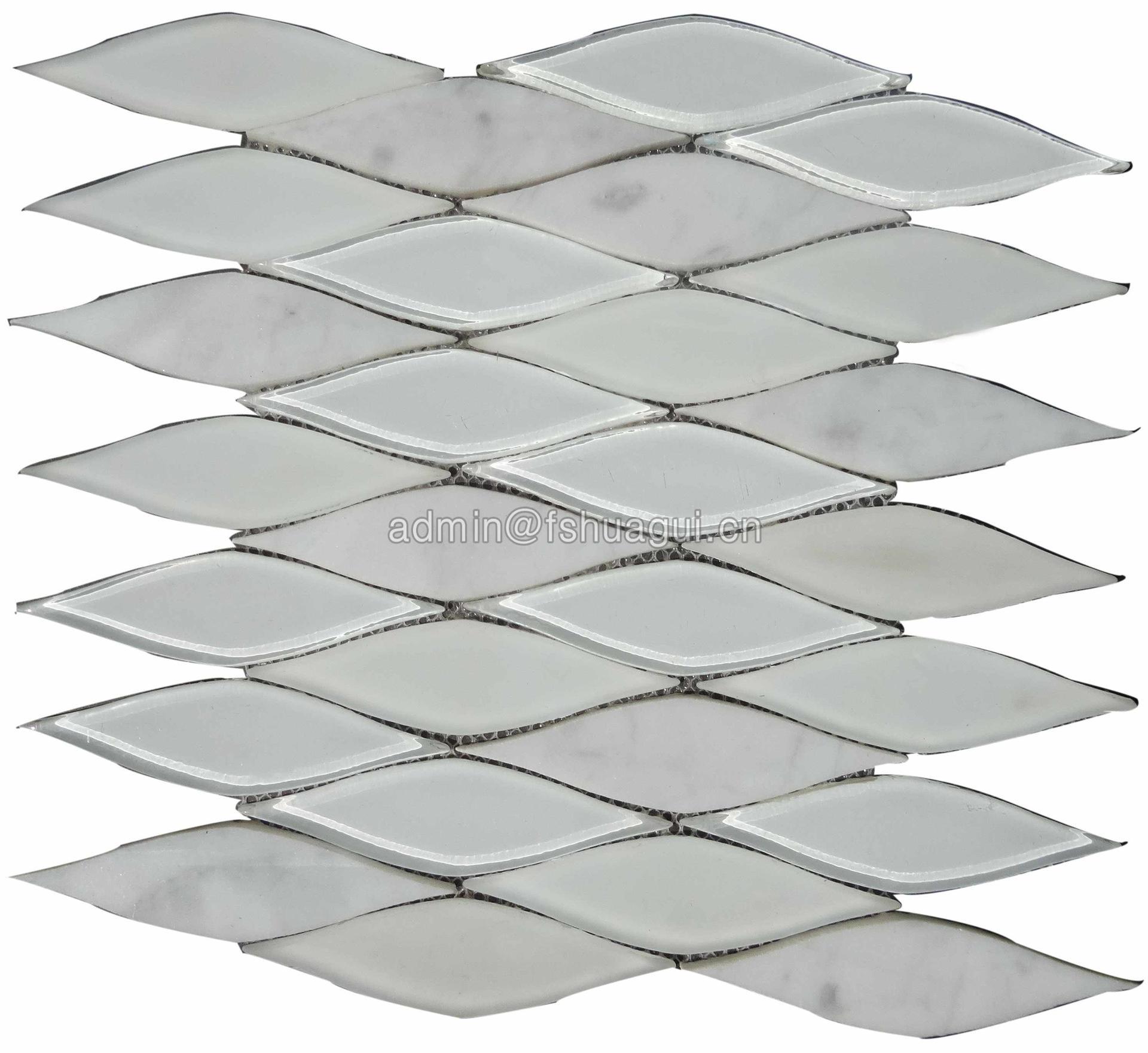 USA style white leaf shape design glass stone mixed mosaic tile