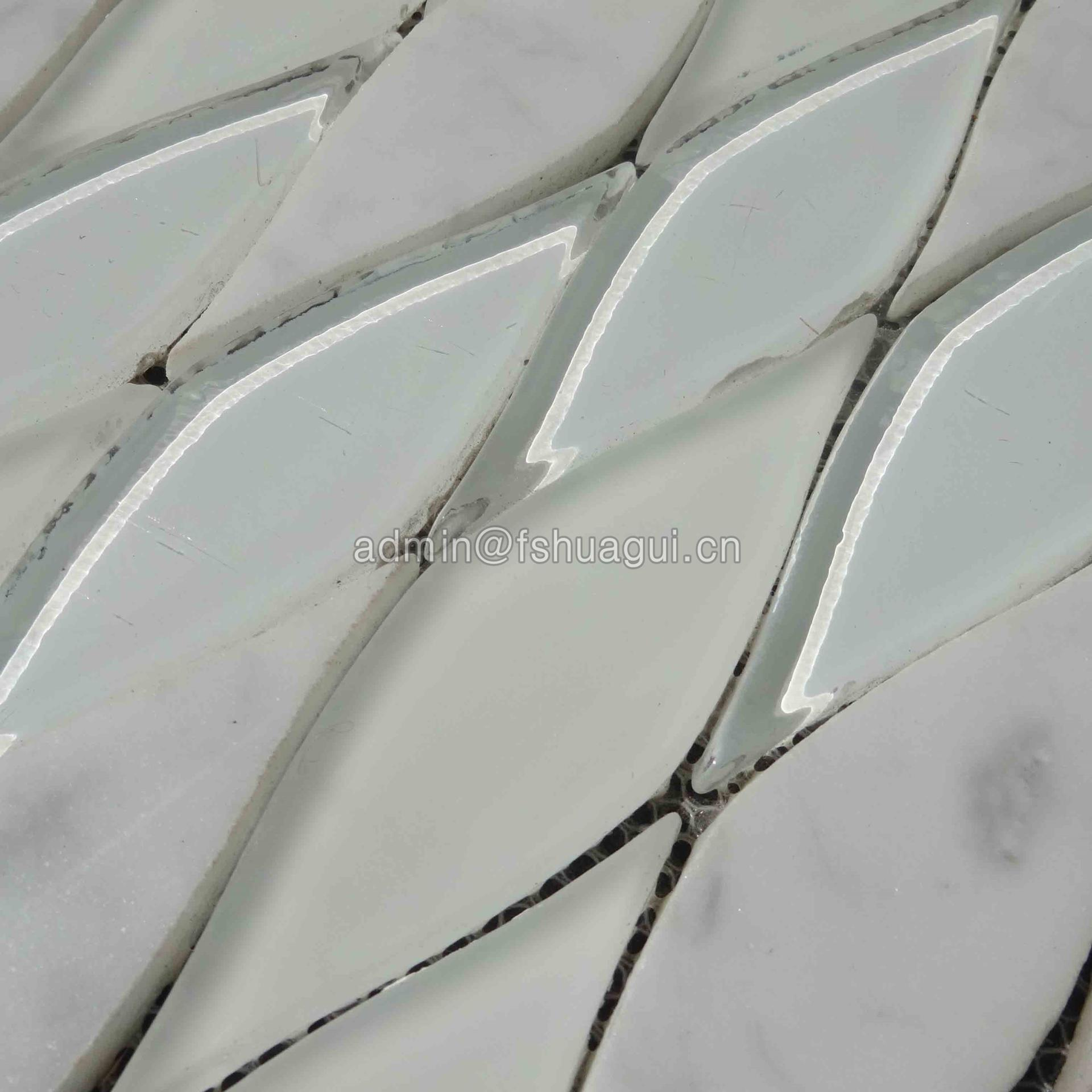 USA style white leaf shape design glass stone mixed mosaic tile