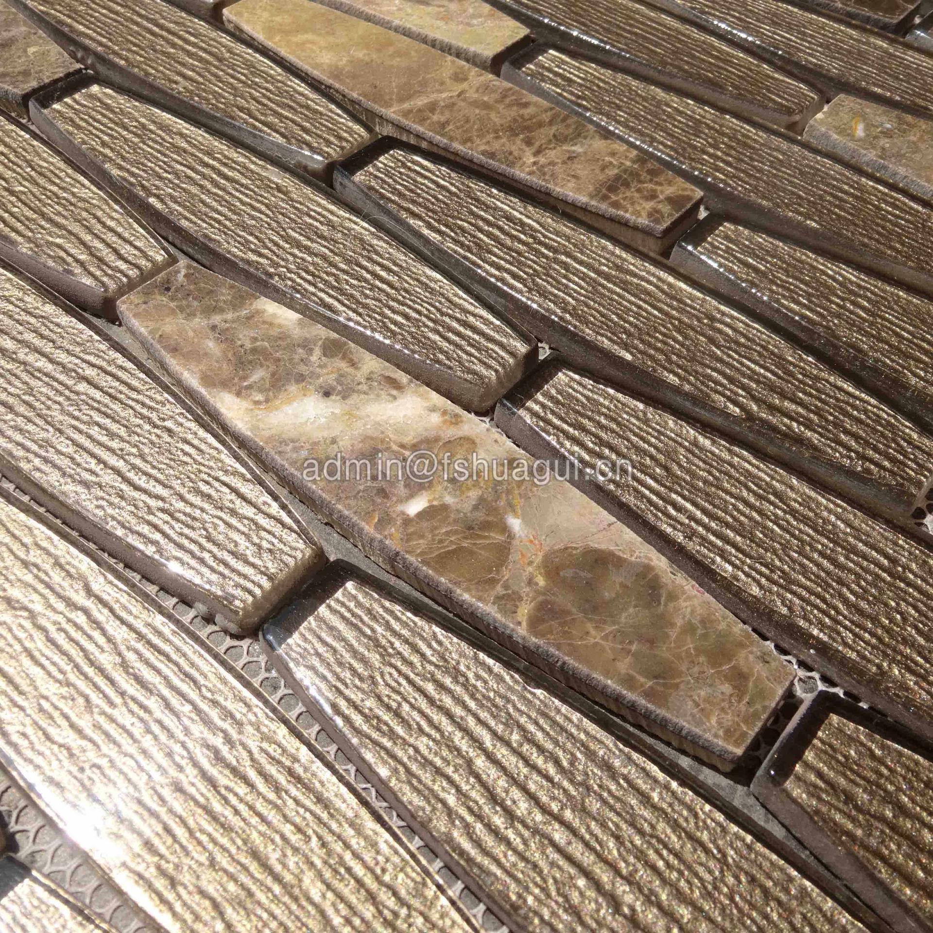 Luxury gold foil waterjet glass stone mosaic tile design idea