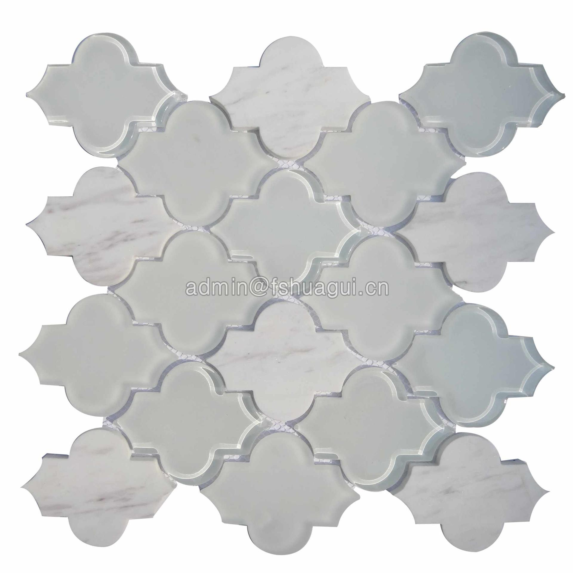 Extraordinary arabesque Carrara marble and white crystal glass mosaic tiles