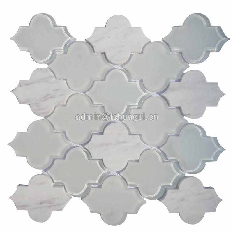 Extraordinary arabesque Carrara marble and white crystal glass mosaic tiles