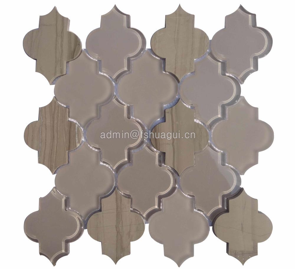 Brown shining stone exquisite water jet glass mosaic tile villa