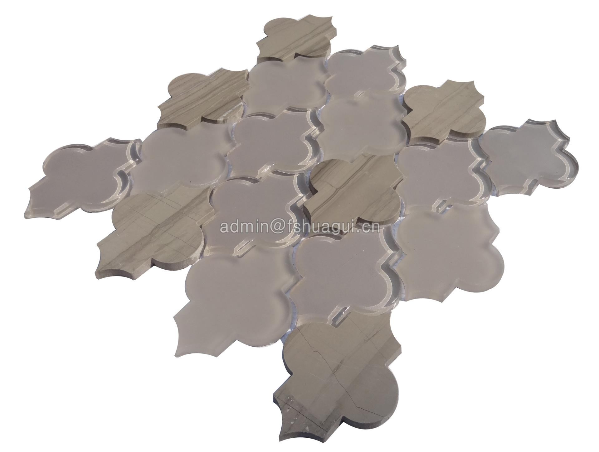 Brown shining stone exquisite water jet glass mosaic tile villa
