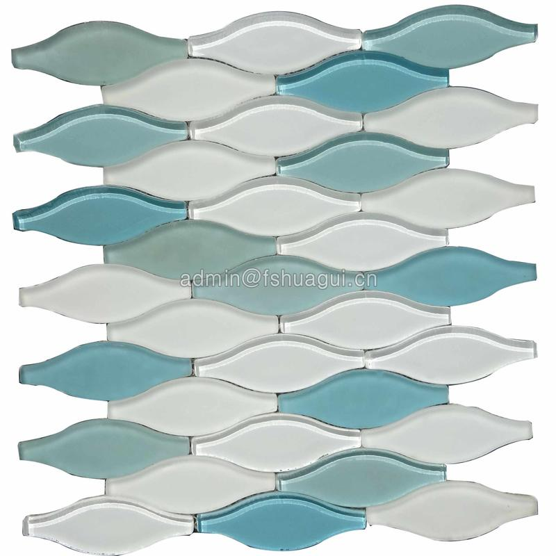 Best price for blue and white glossy glass matte brick mosaic tile