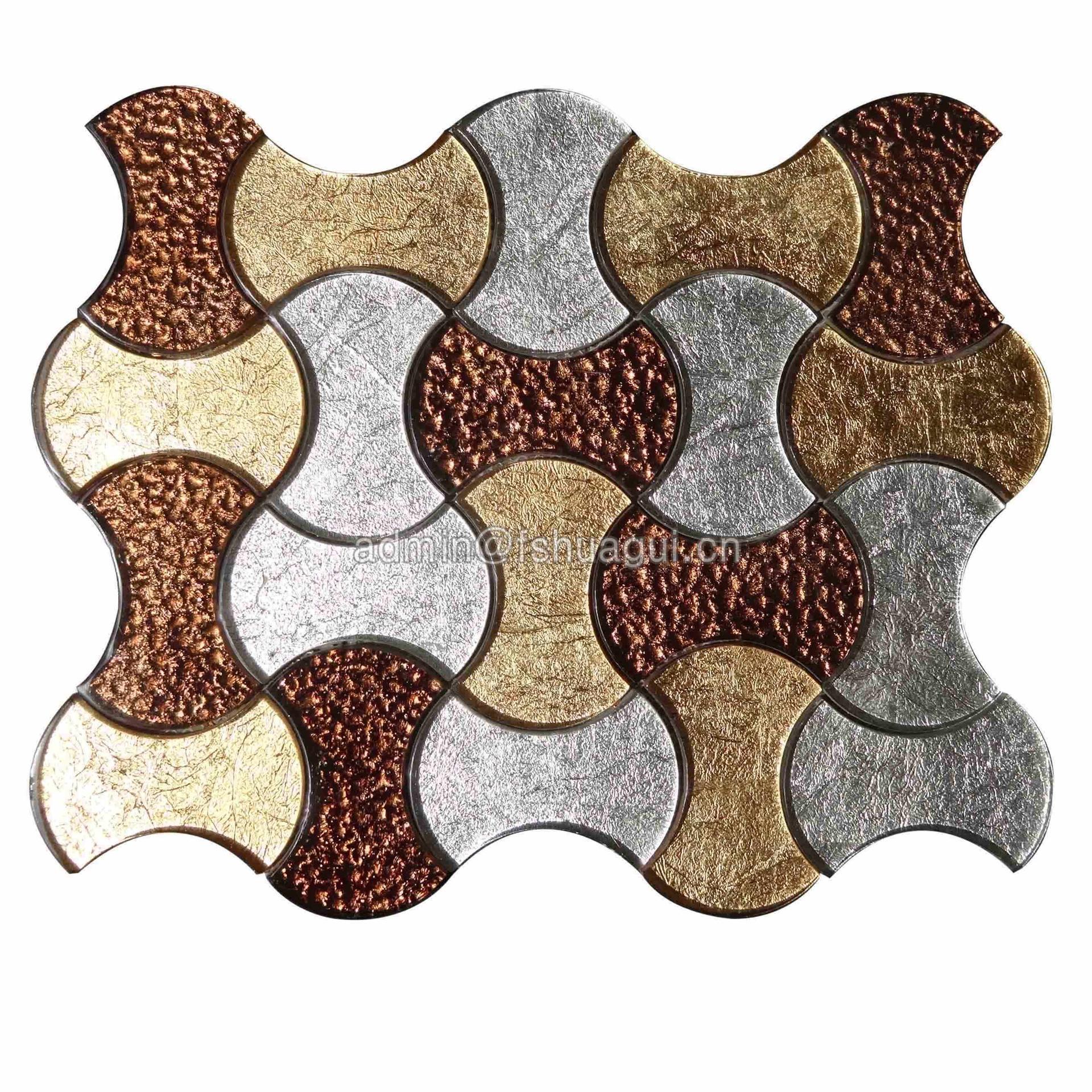 Stylish ornate glass mosaic kitchen backsplash tile