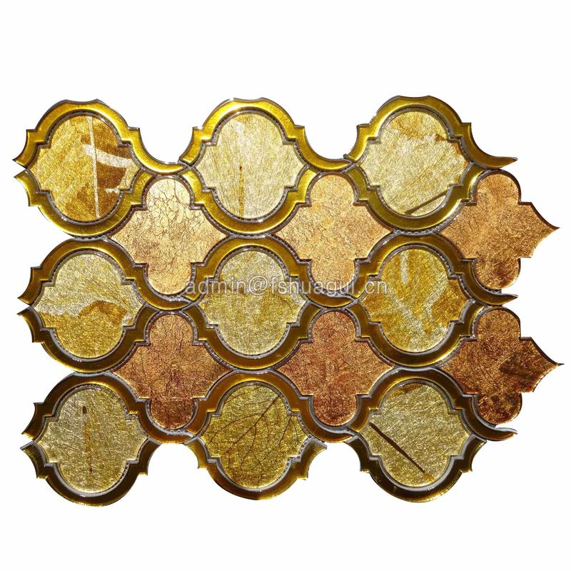 Golden glossy lantern arabesque water jet glass mosaic tile