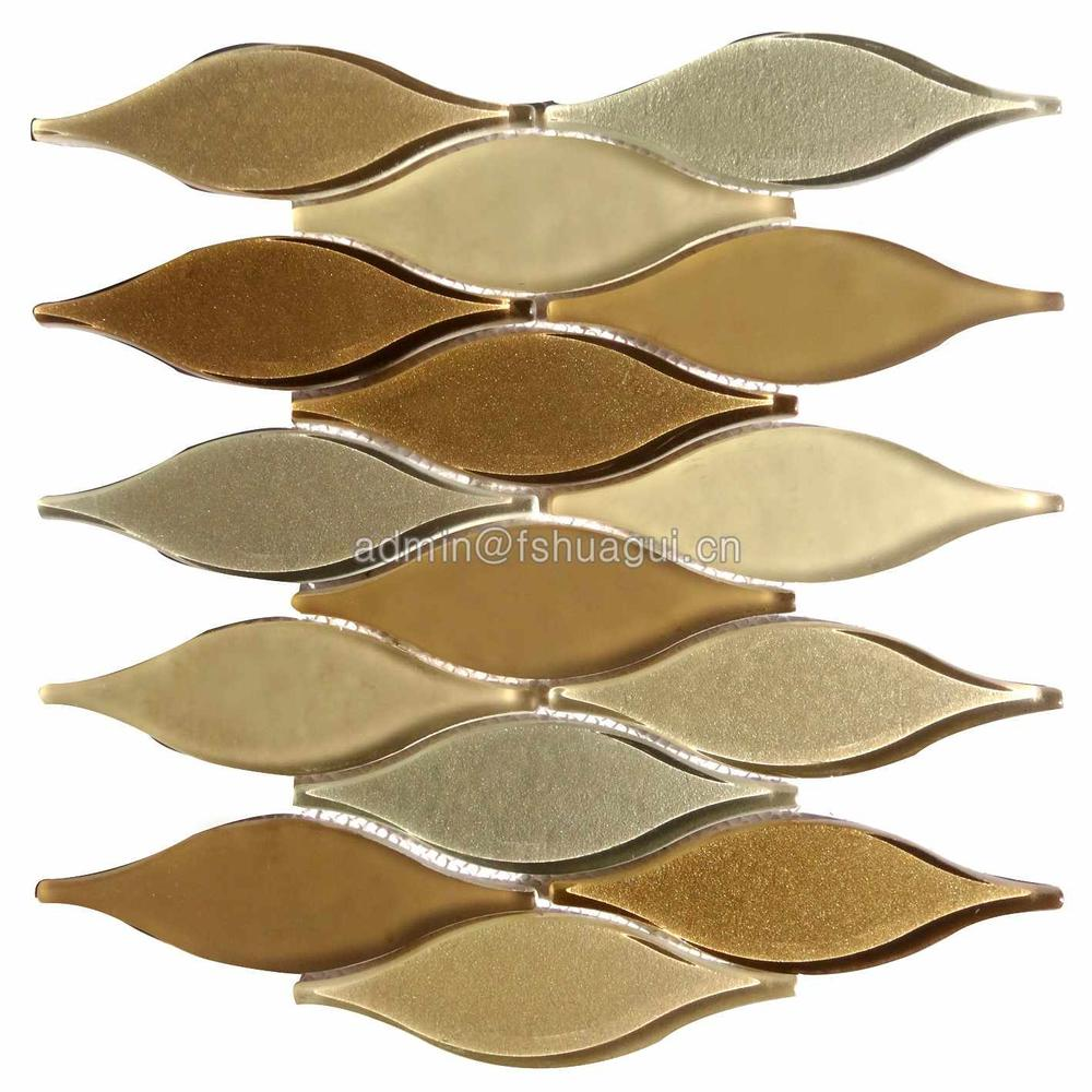 Irregular shape golden printing lantern water jet glass mosaic tile