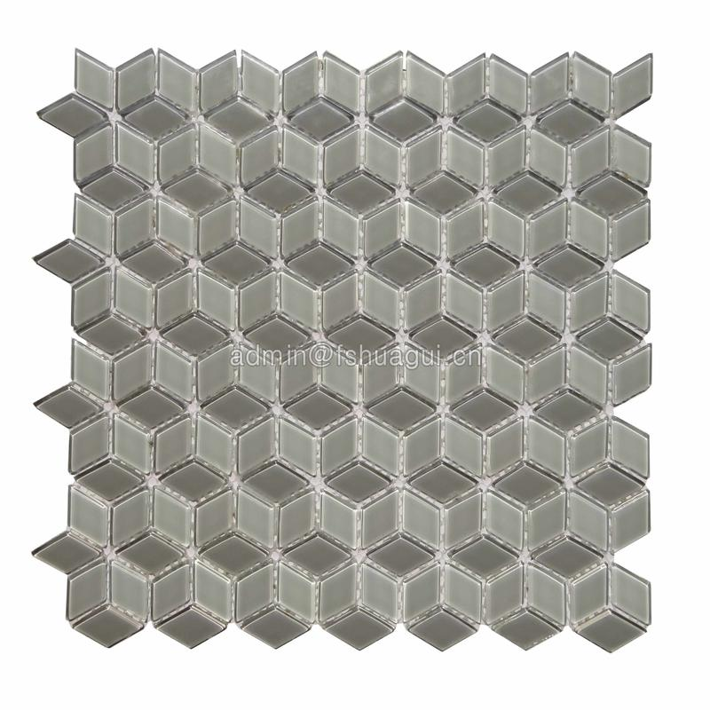 Three-dimensional small rhombus tile glossy glass mosaic