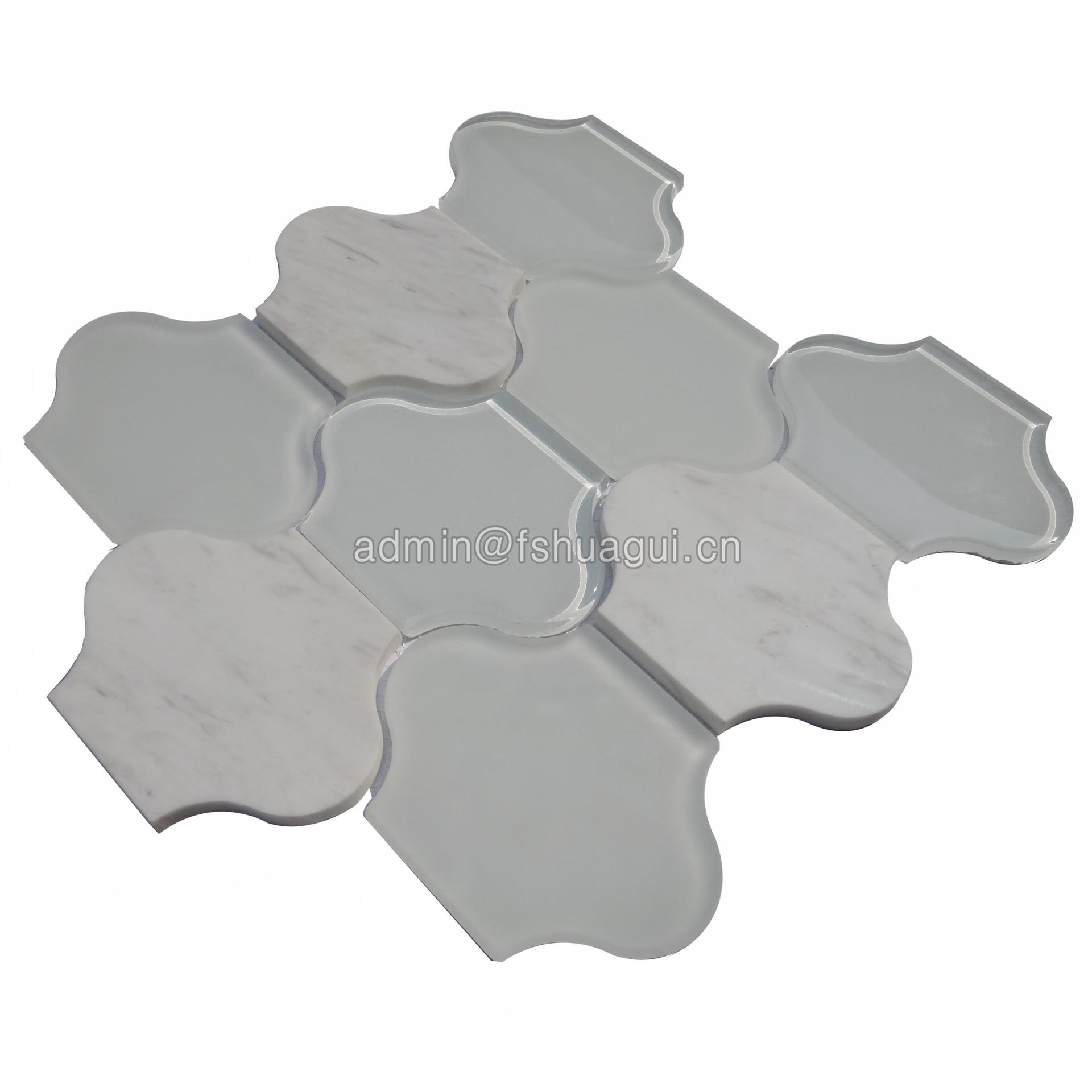 Lantern shaped water jet crystal glass tile white marble mosaic