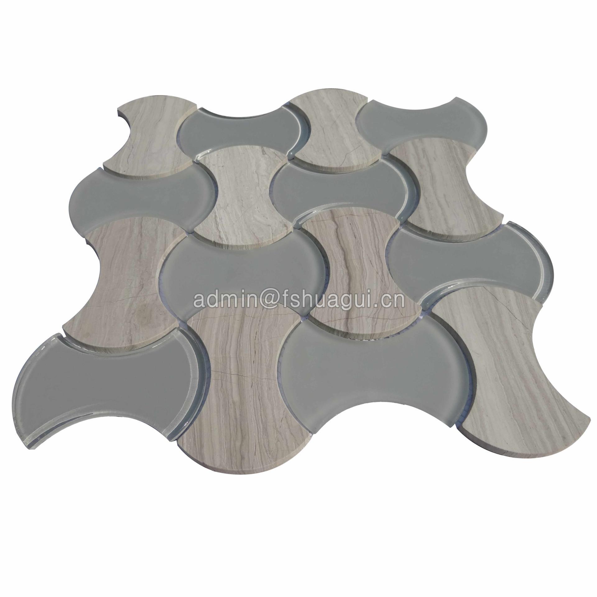 High quality design water jet stone mixed glass mosaic backsplash tile
