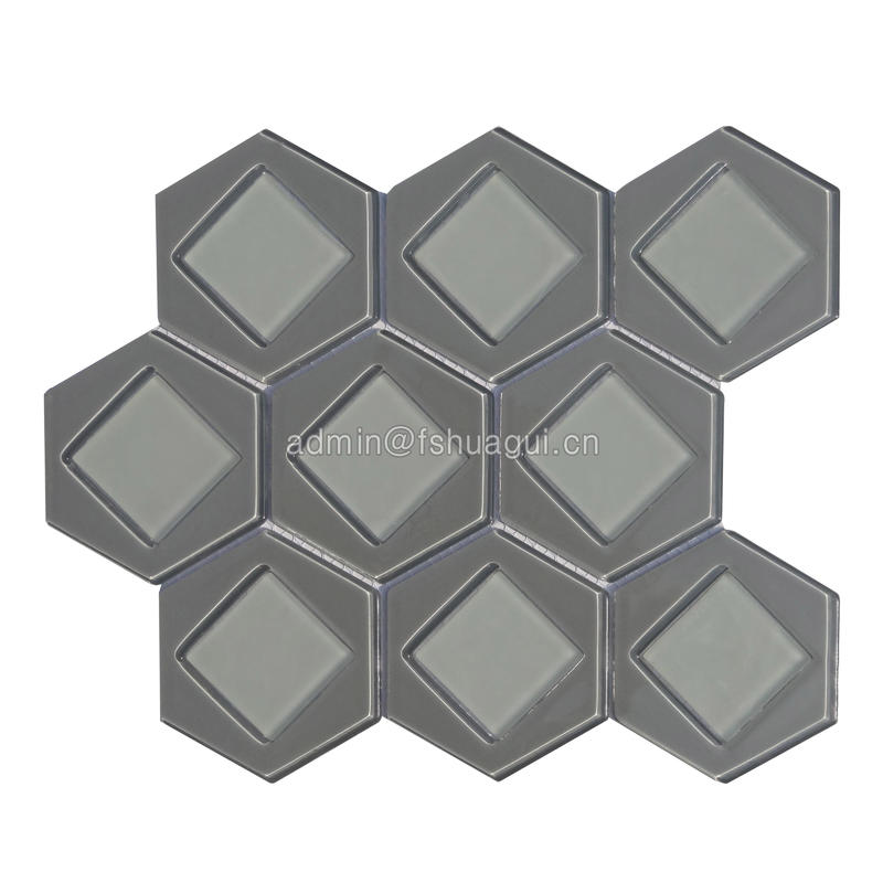 Hexagon & square pattern glass water jet mosaic tile