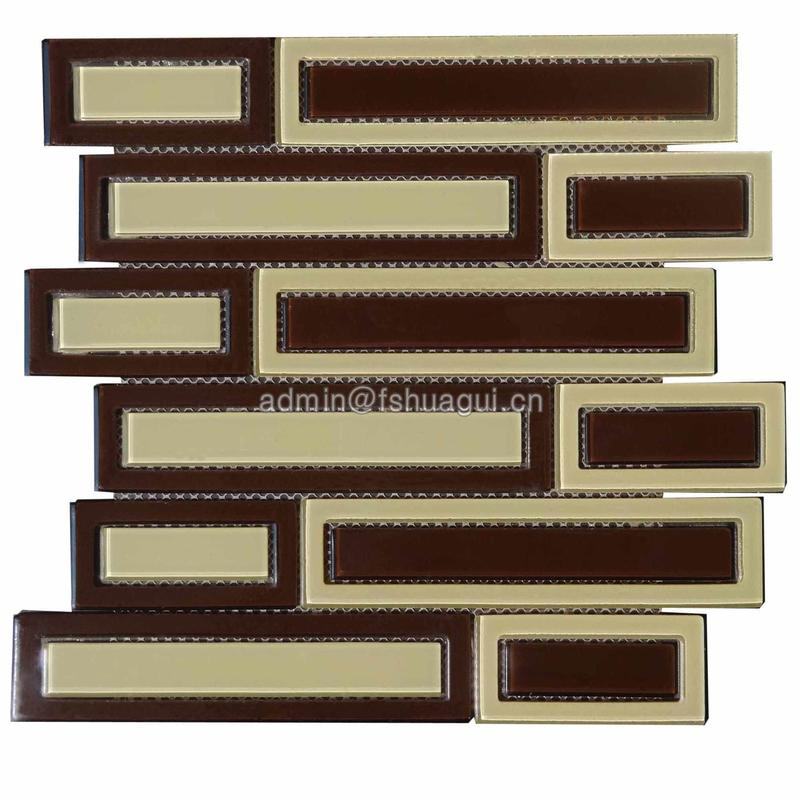 Interior wall long striped brown leather glass mosaic tile promotion