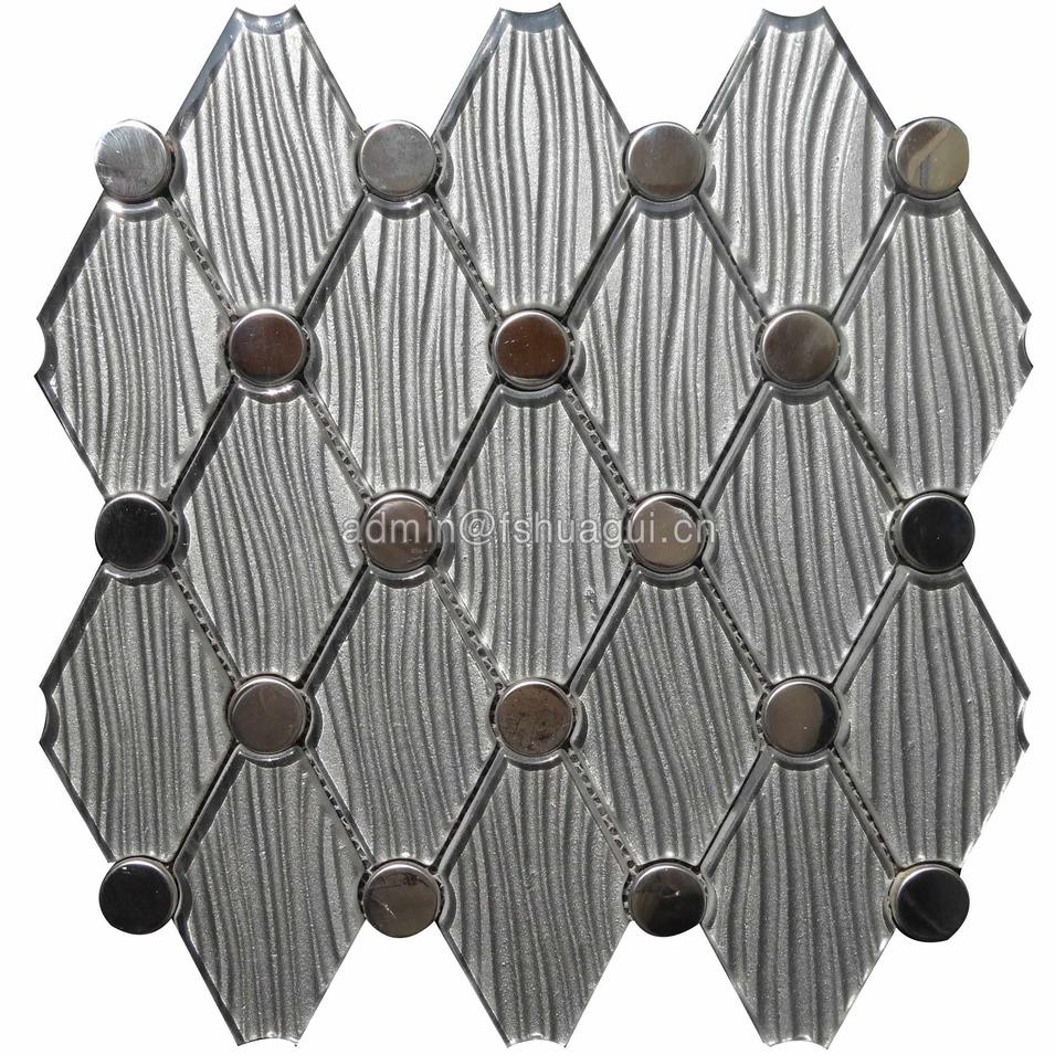 Interlocking diamond shape silver stainless with crystal texture water jet mosaic backsplash
