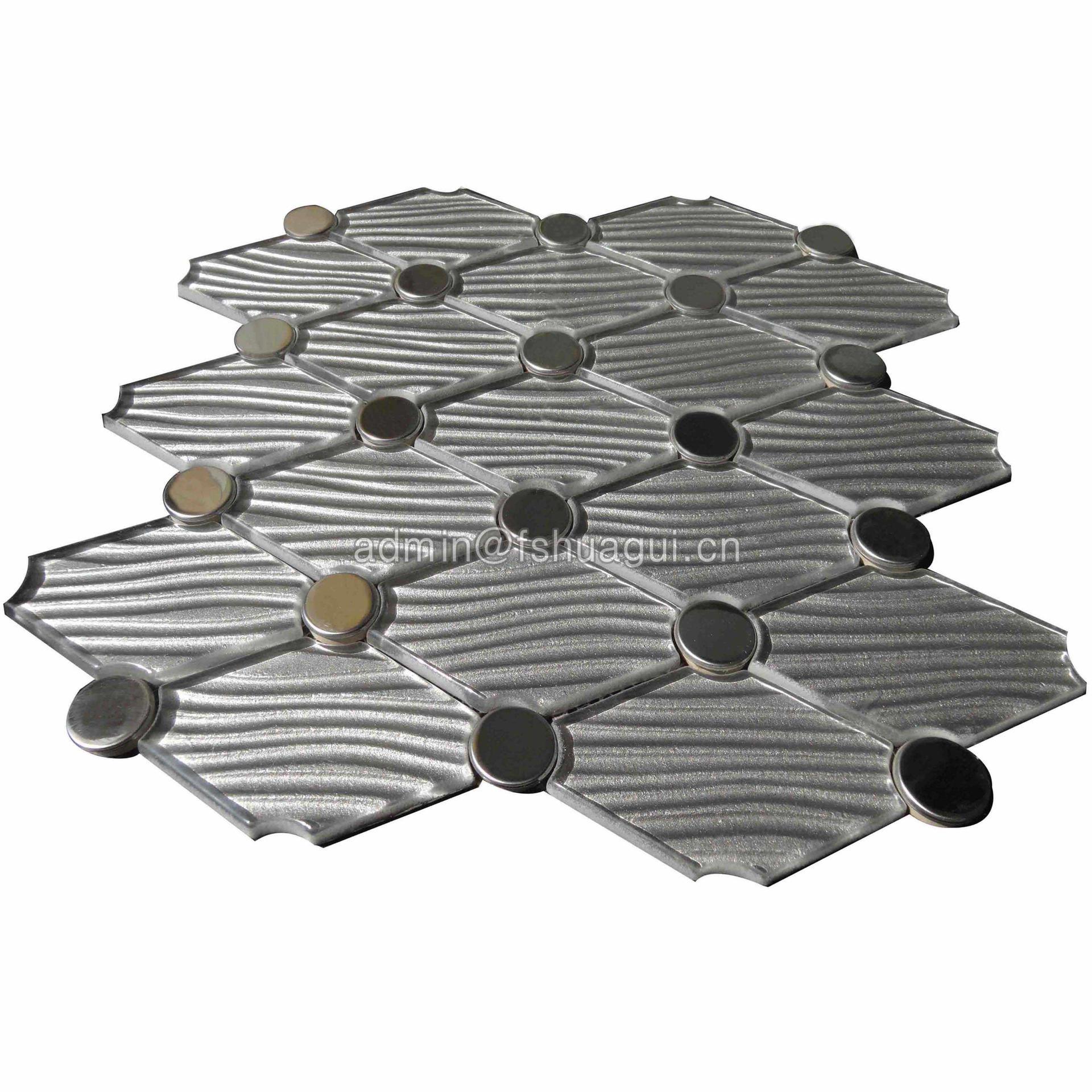 Interlocking diamond shape silver stainless with crystal texture water jet mosaic backsplash