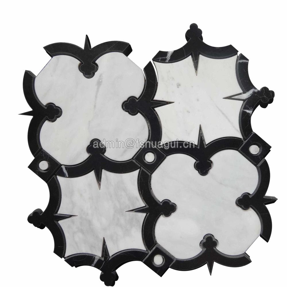 Black & white natural marble tile aurora water jet mosaic collection