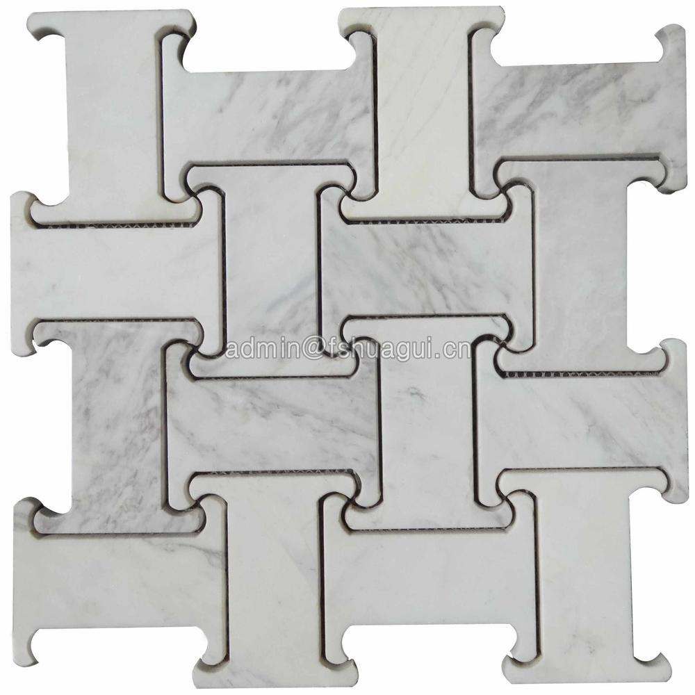 Carrara white polished water jet marble mosaic tile decoration
