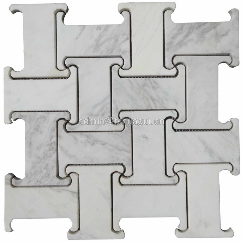 Carrara white polished water jet marble mosaic tile decoration