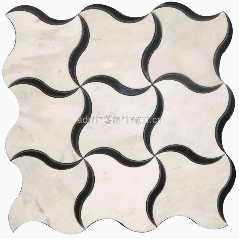 Dancing windmill water jet marble mosaic tile wholesale