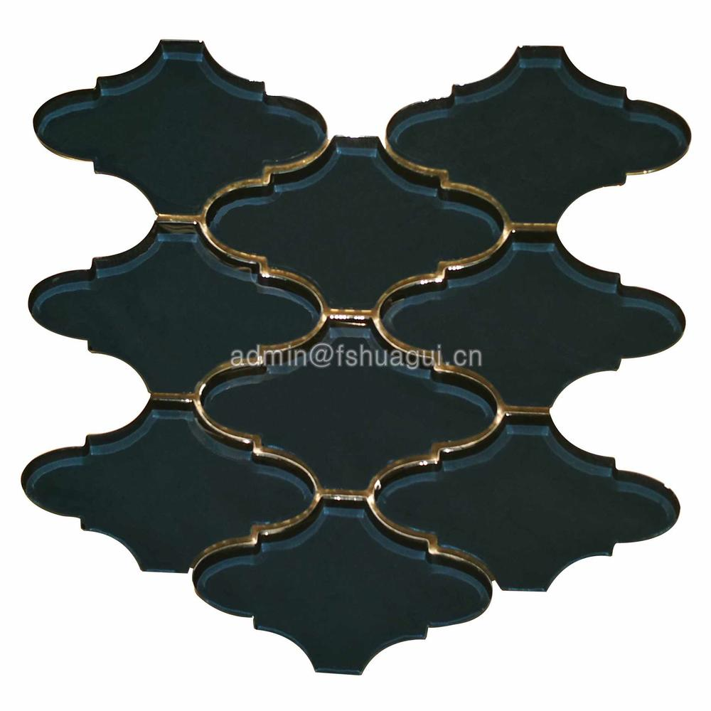 Luxury black lantern mosaic pattern backsplash decorative tile