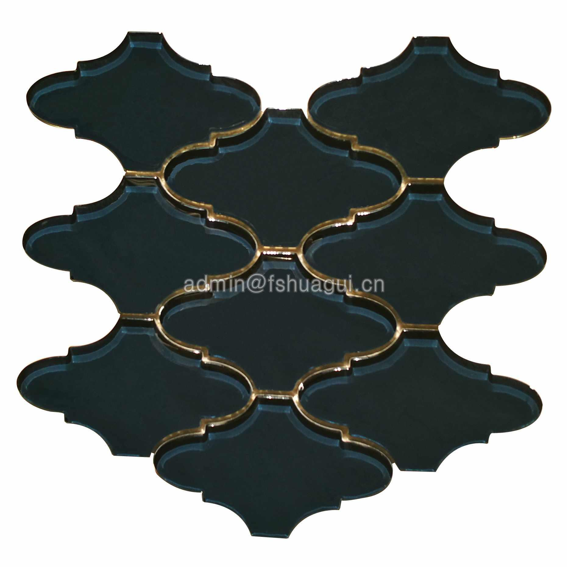 Luxury black lantern mosaic pattern backsplash decorative tile