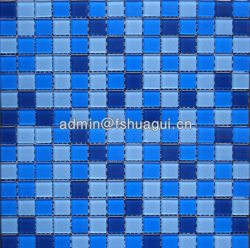 Blue Color Glossy Glass Mosaic Swimming Pool Mosaic Tiles HG-420010