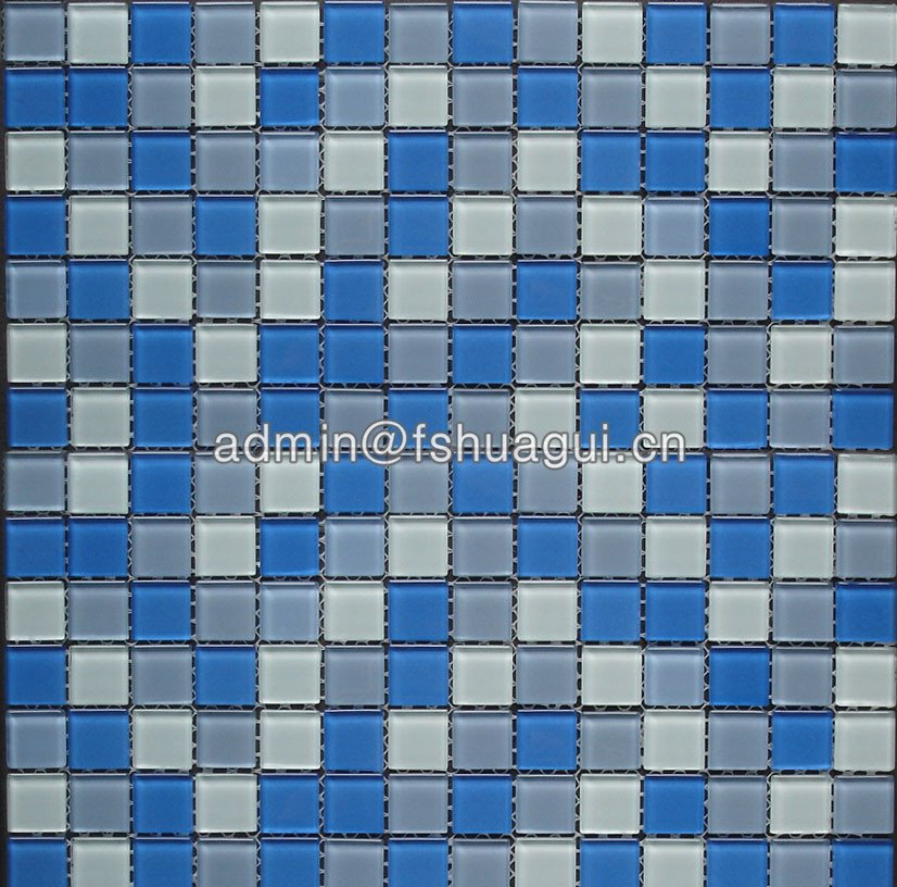 Huagui Swimming pool crystal glass mixed blue colors glass mosaic tile HG-420008 POOL MOSAIC TILE image15