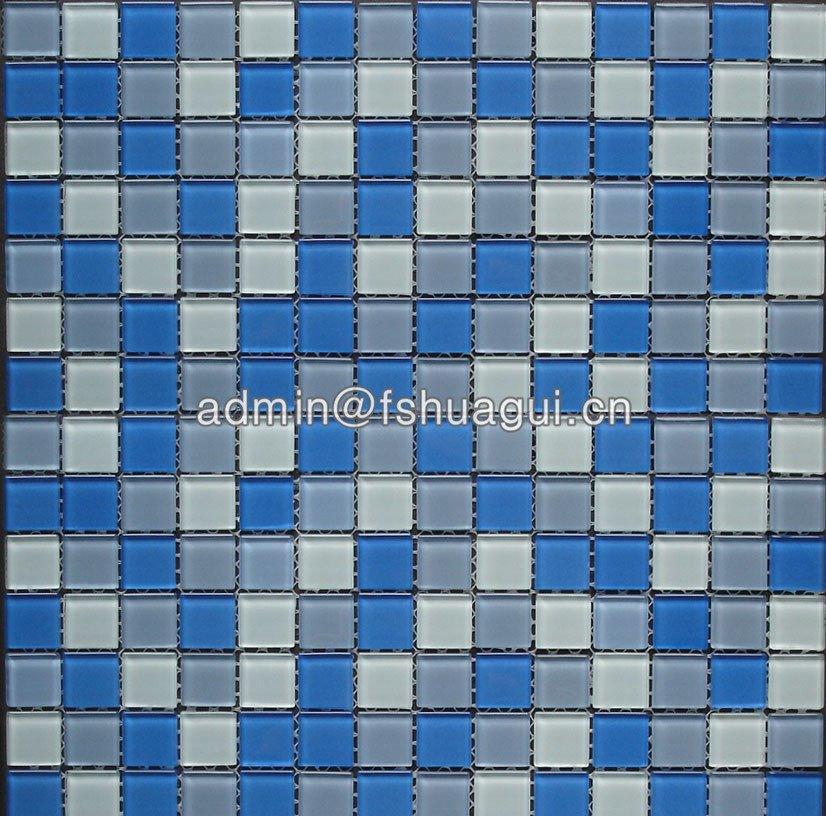 Swimming pool crystal glass mixed blue colors glass mosaic tile HG-420008