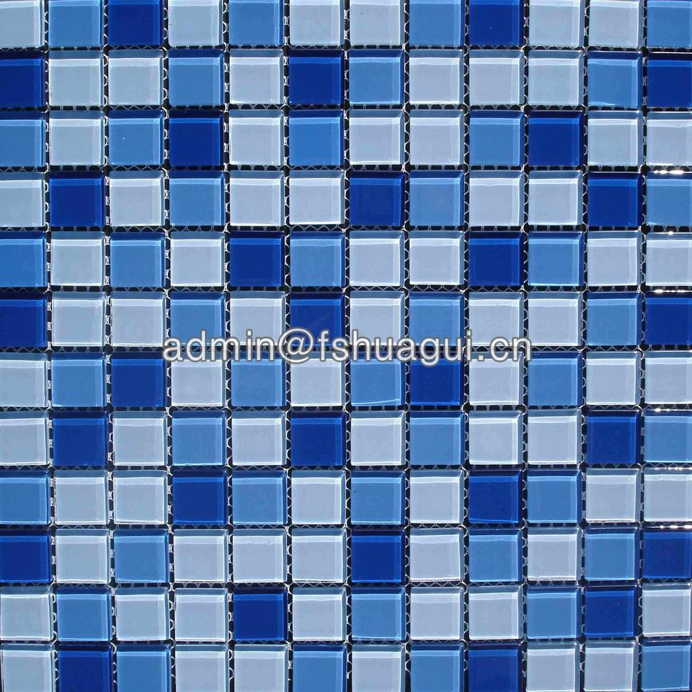 Blue swimming pool crystal glass mosaic tiles for swimming pools HG-423008