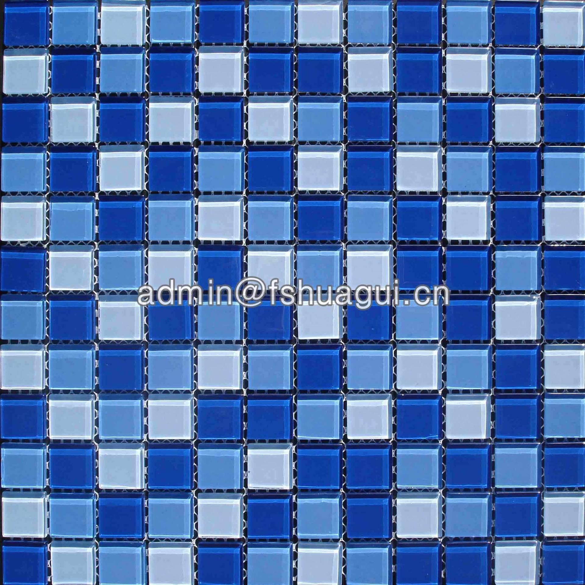 Glass mix blue colors swimming pool mosaic glass tile HG-423010