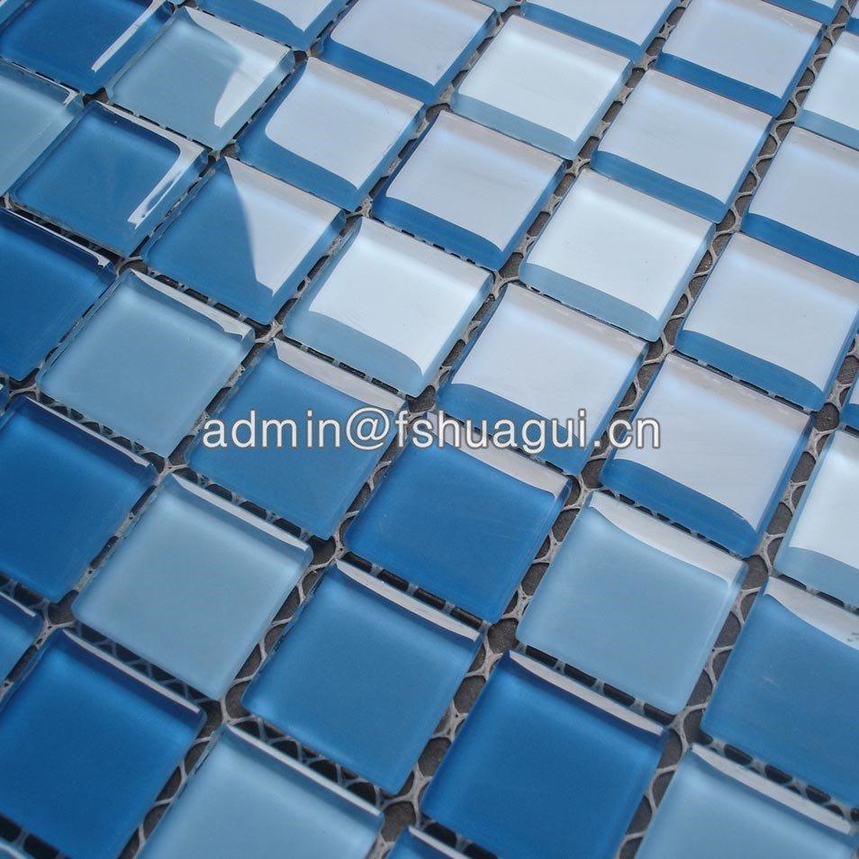 Huagui Mixed blue colors crystal glass  mosaic tile for bathroom pool tiles HG-423013 POOL MOSAIC TILE image12