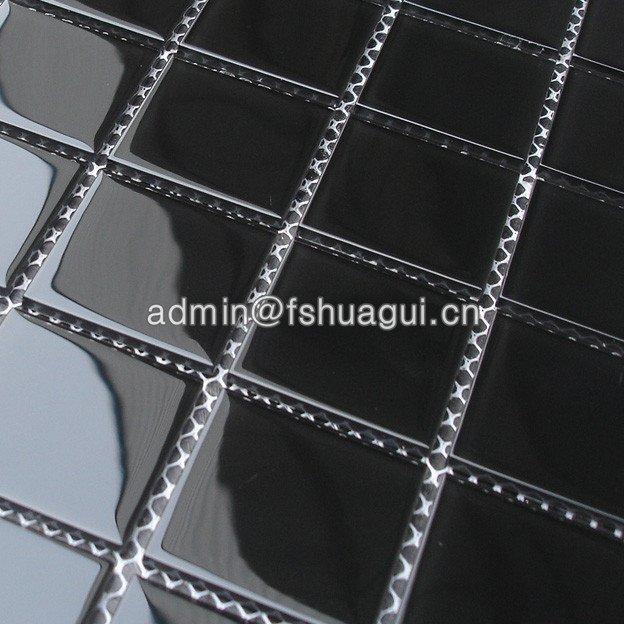 Huagui Pure Black Glass Interior Pool Mosaic Tile Decoration Wall Bathroom Tile HG-448004 POOL MOSAIC TILE image4
