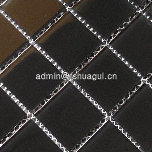 Pure Black Glass Interior Pool Mosaic Tile Decoration Wall Bathroom Tile HG-448004
