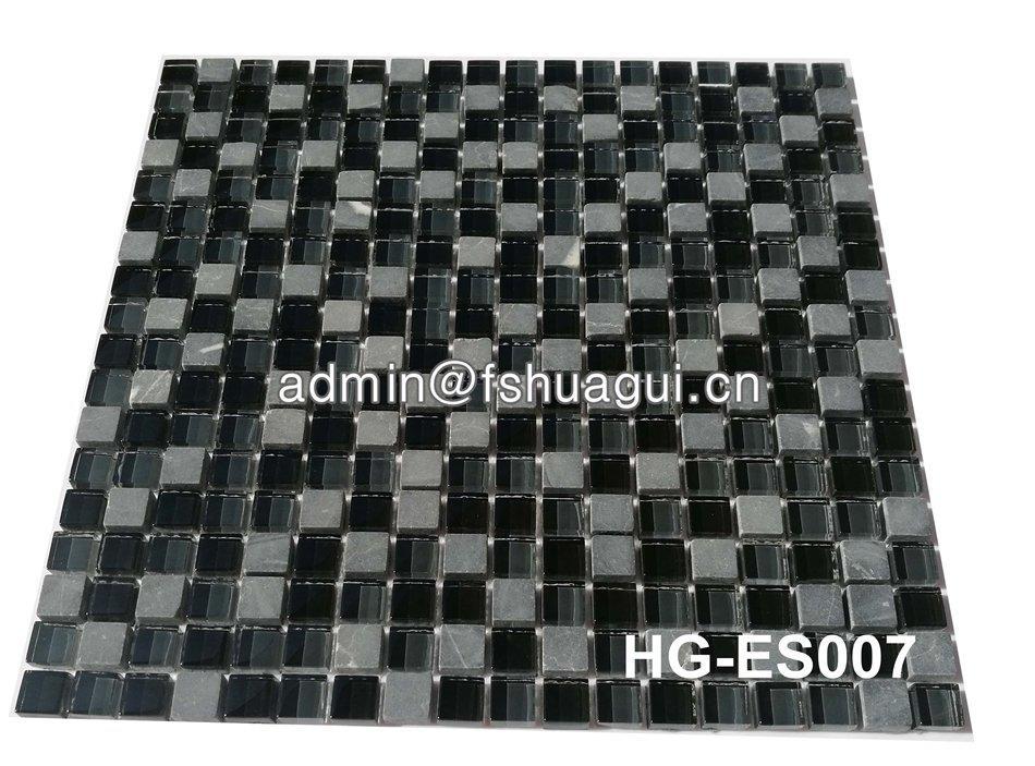 8mm grey black glass mixed stone mosaic backsplash tile