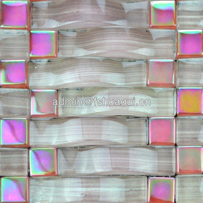 New design pink arched shape crystal glass mosaic wall tile