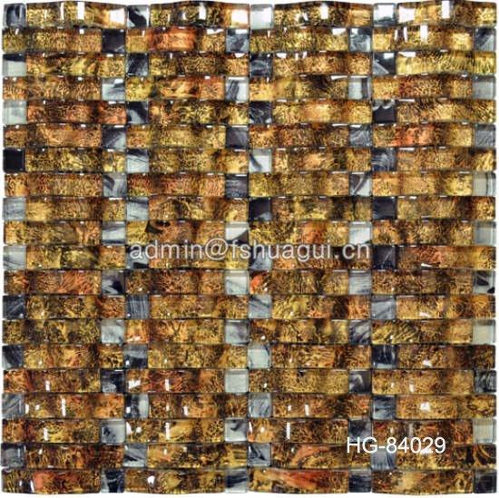 Huagui Unique Design Linear Glass Stone Mixed Mosaic Tile HG-84027 GLASS MOSAIC TILE image48