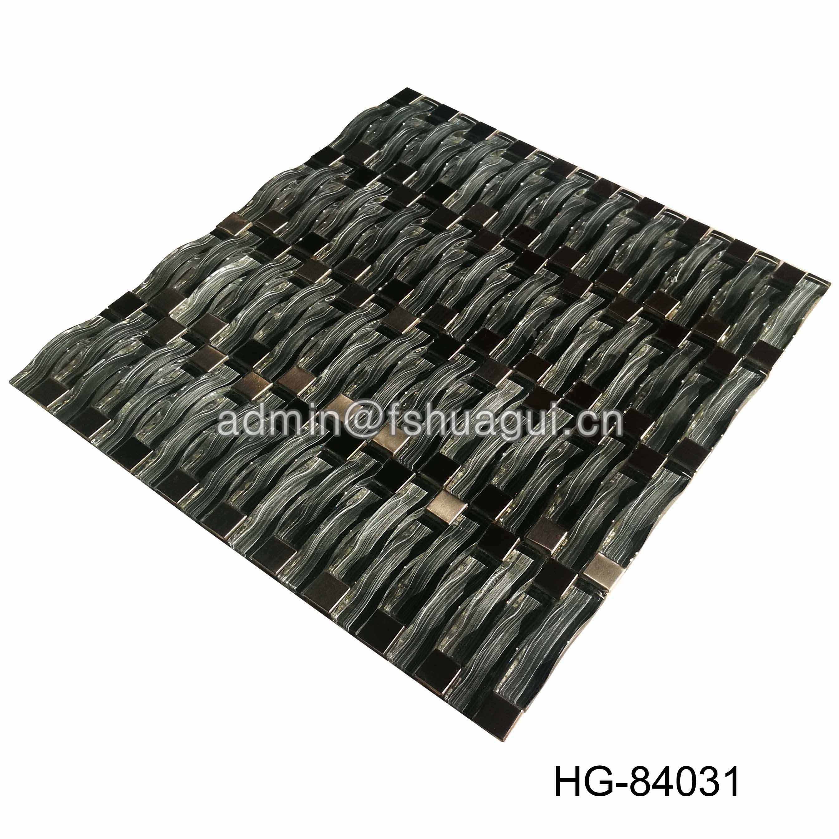 Huagui Foshan Manufacturer Antique  Grey Glass Mosaic Tile HG-84031 GLASS MOSAIC TILE image37