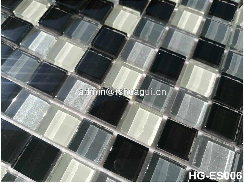 Foshan supplier grey color mixed for wall crystal glass mosaic tile
