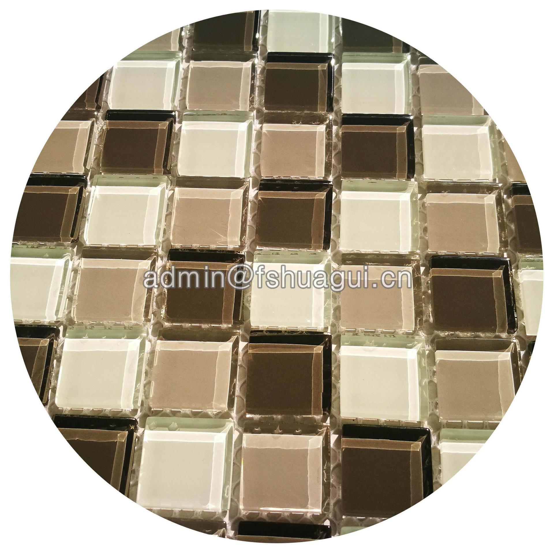 Interior decoration room grey crystal glass mosaic tile