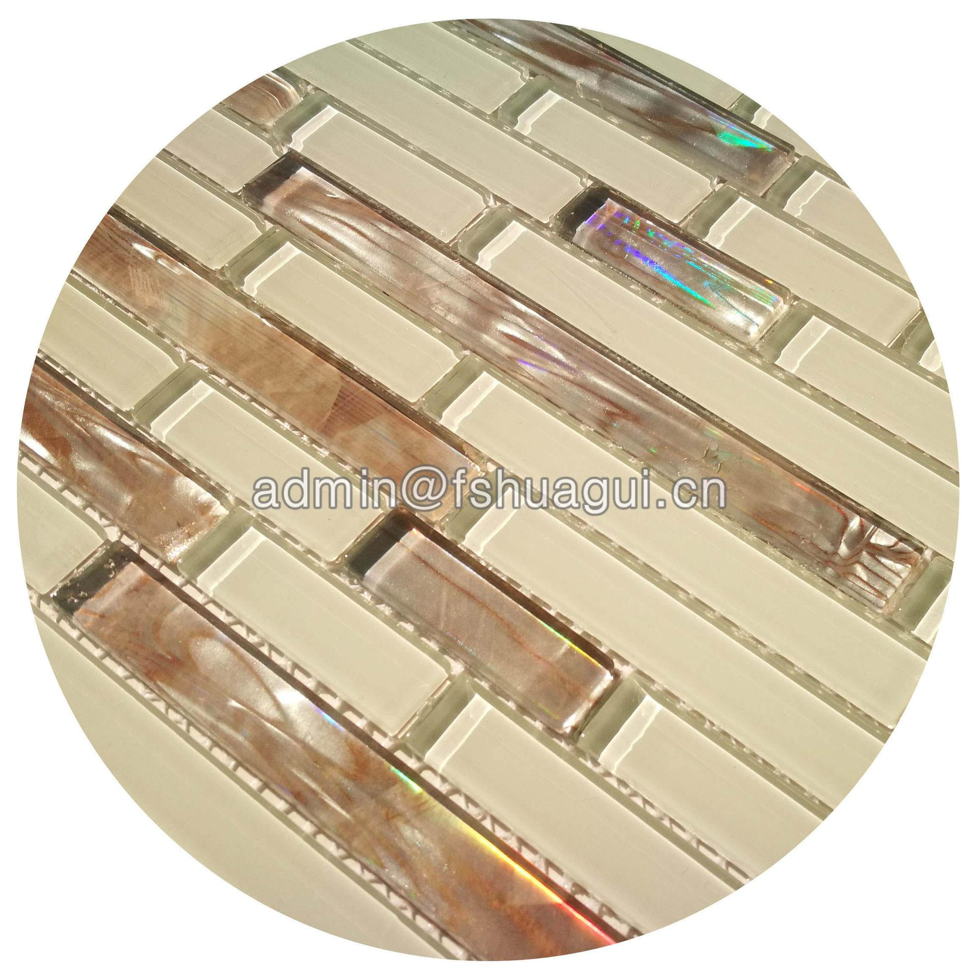 Home decoration iridescent white strip crystal glass mosaic tile