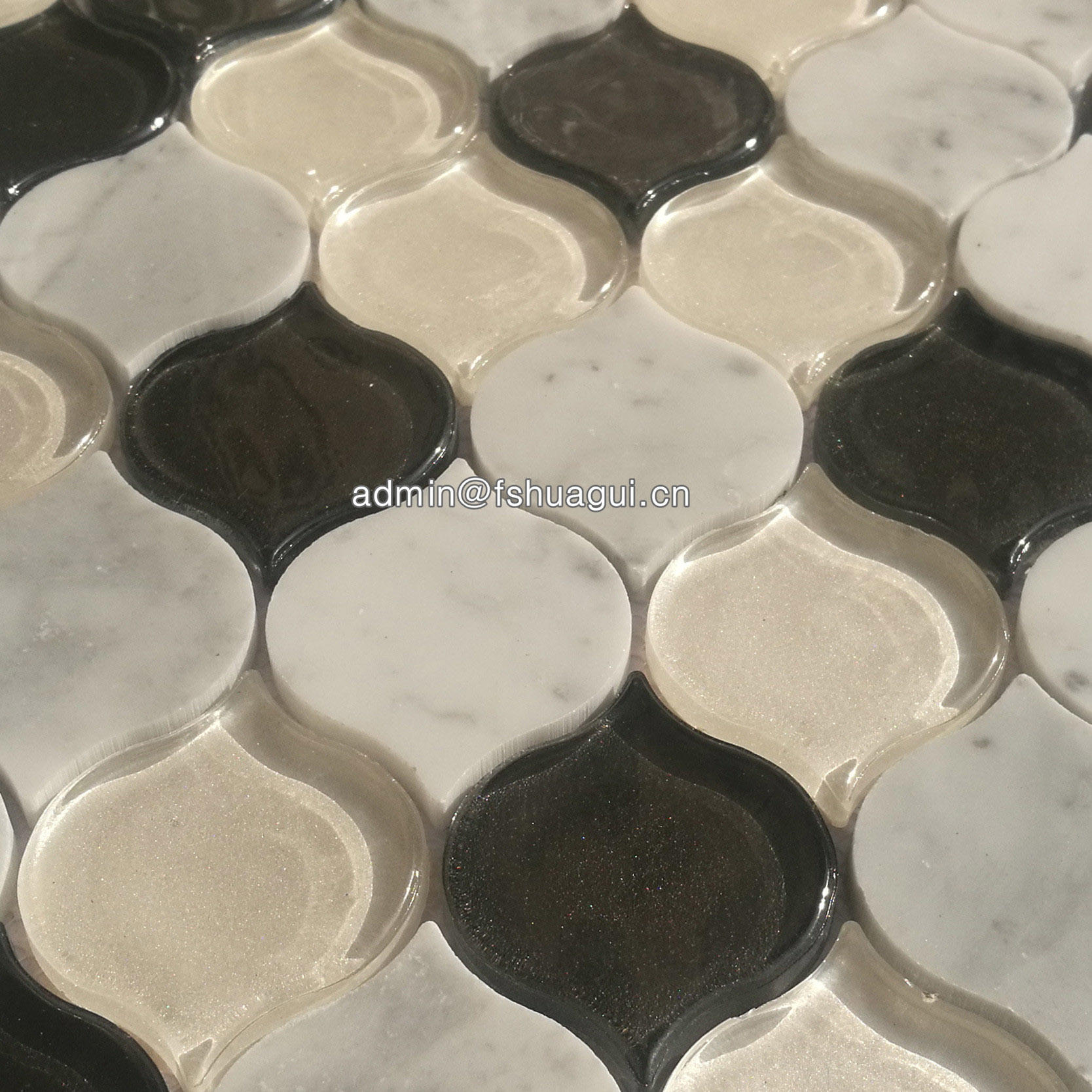 Beige and white luxembourg villa heirloom arabesque glass stone mosaic tile