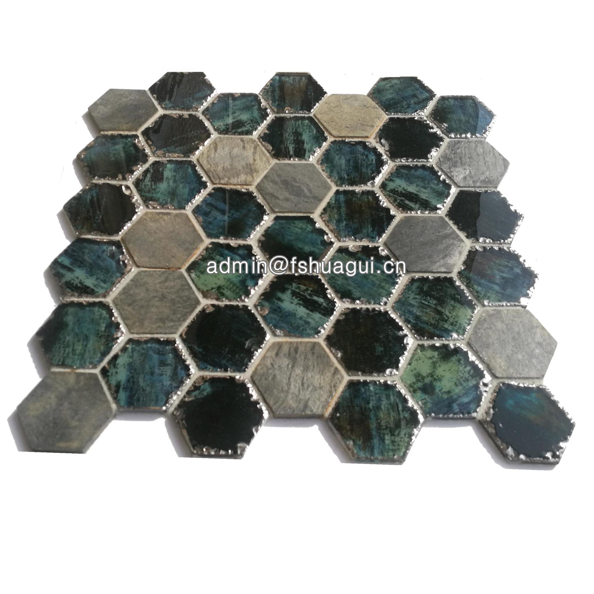 3 inch aurora hexagon ink jet glass stone mosaic tiles