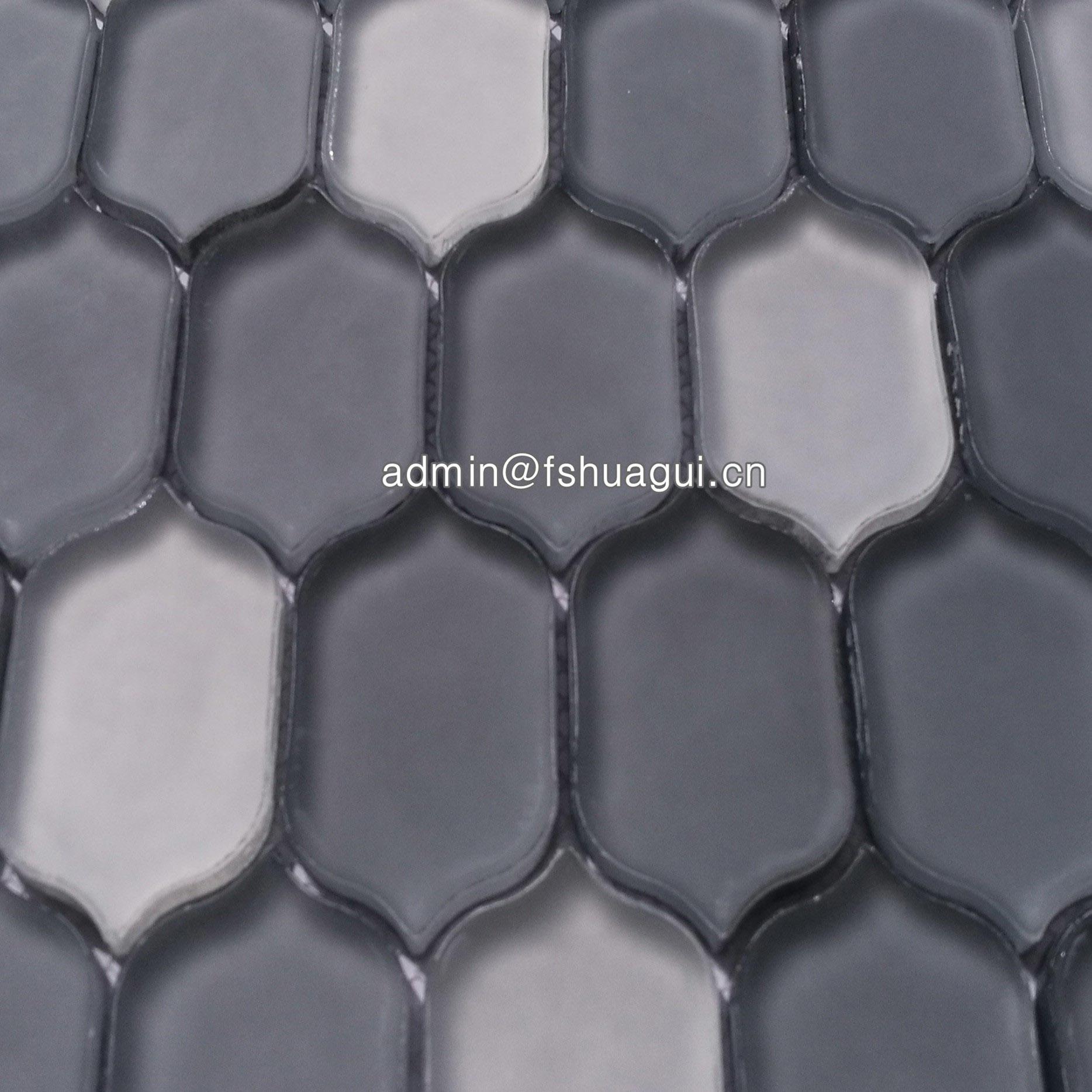 Matte smoke interlocking long hexagon glass mosaic tile