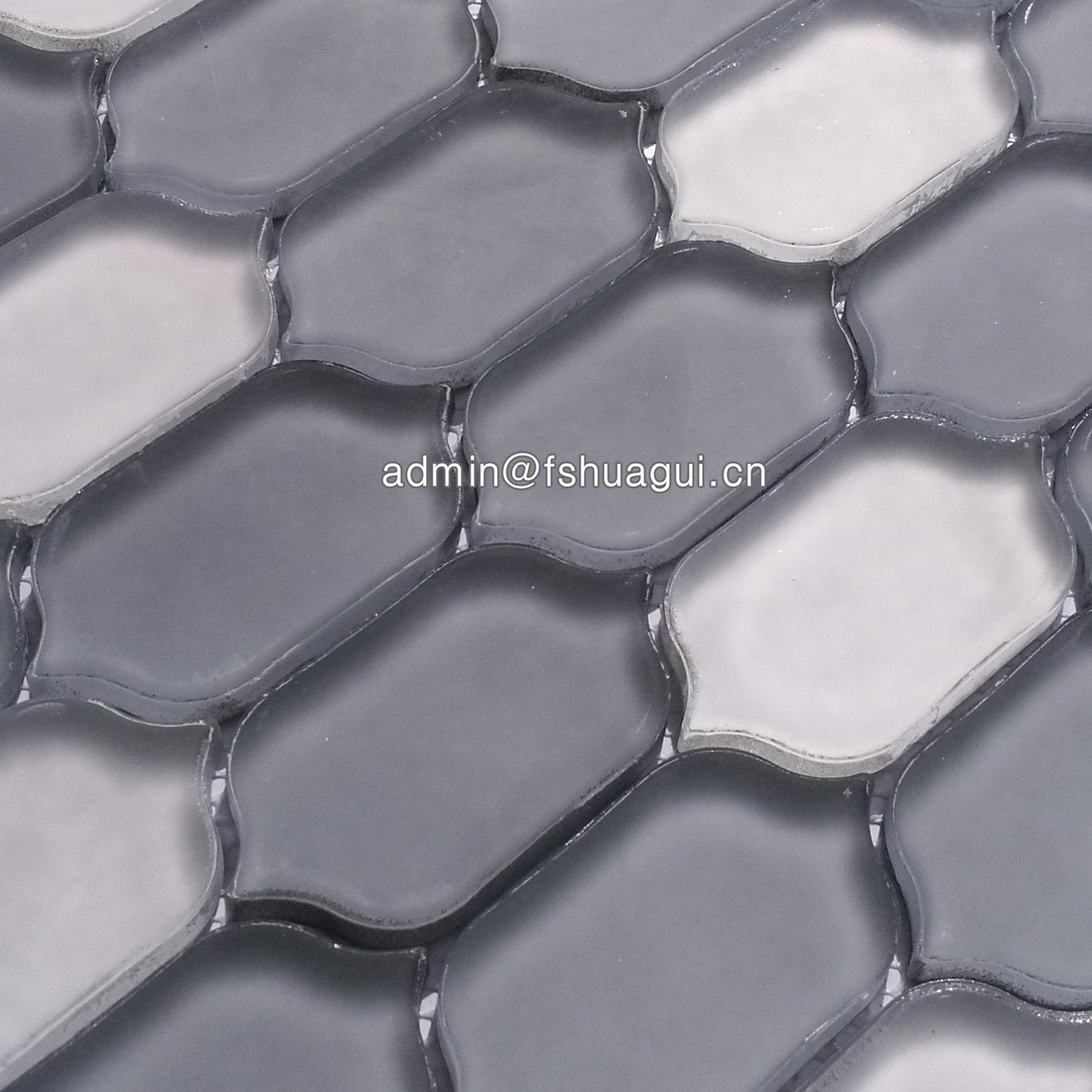 Huagui Interlocking long hexagon glass mosaic tile HG-WJ406 GLASS MOSAIC TILE image26