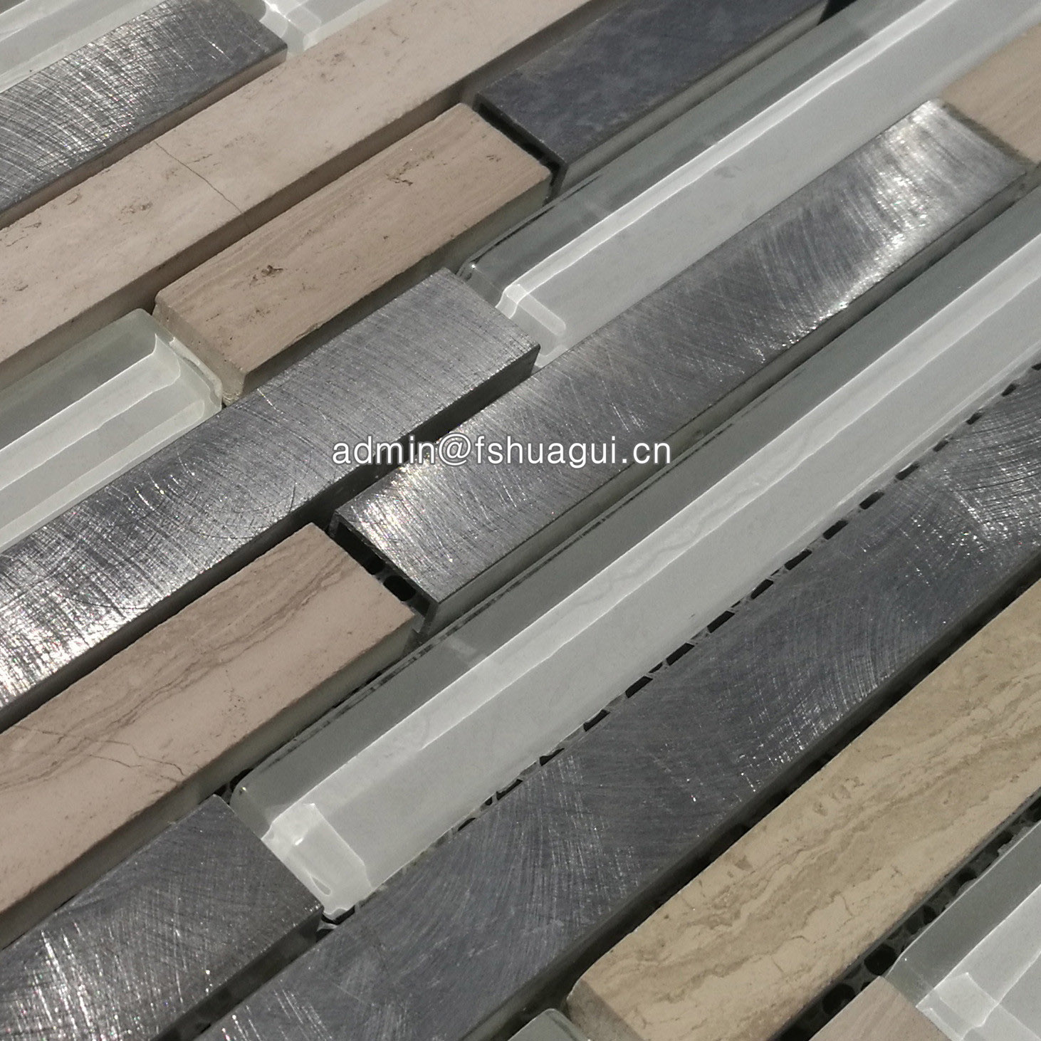 Huagui Linear white glass stone metal tile mosaic HG-WJ408 GLASS MOSAIC TILE image25