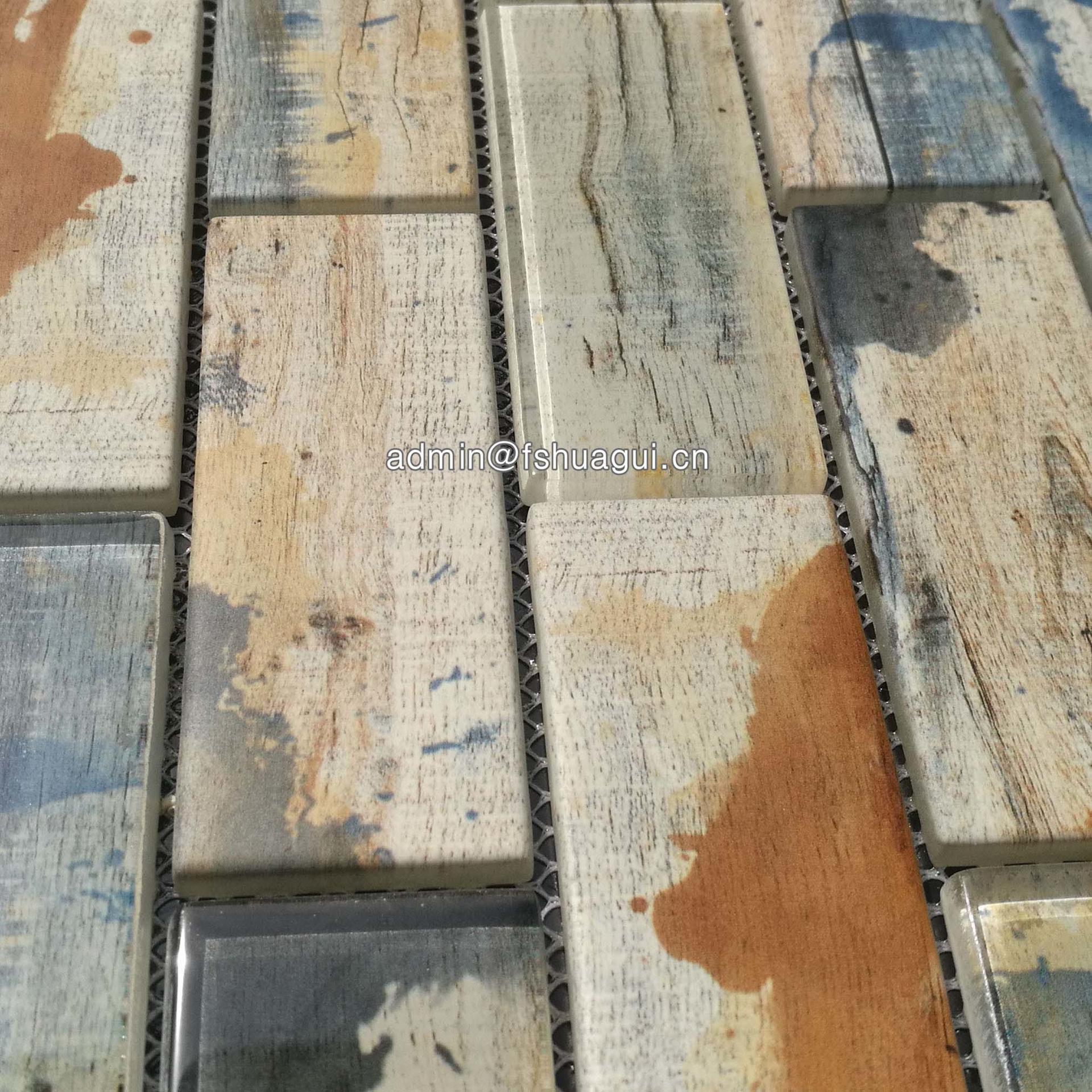 2x4 graffiti brick pattern glass tile kitchen backsplash