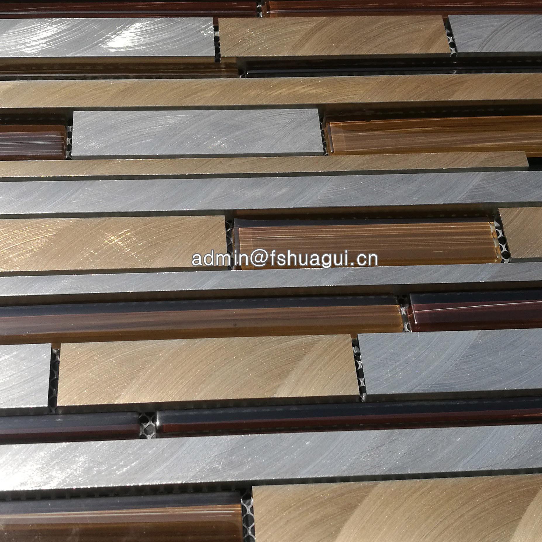 Brushed stellar golden silver aluminum metal mosaic tiles UK