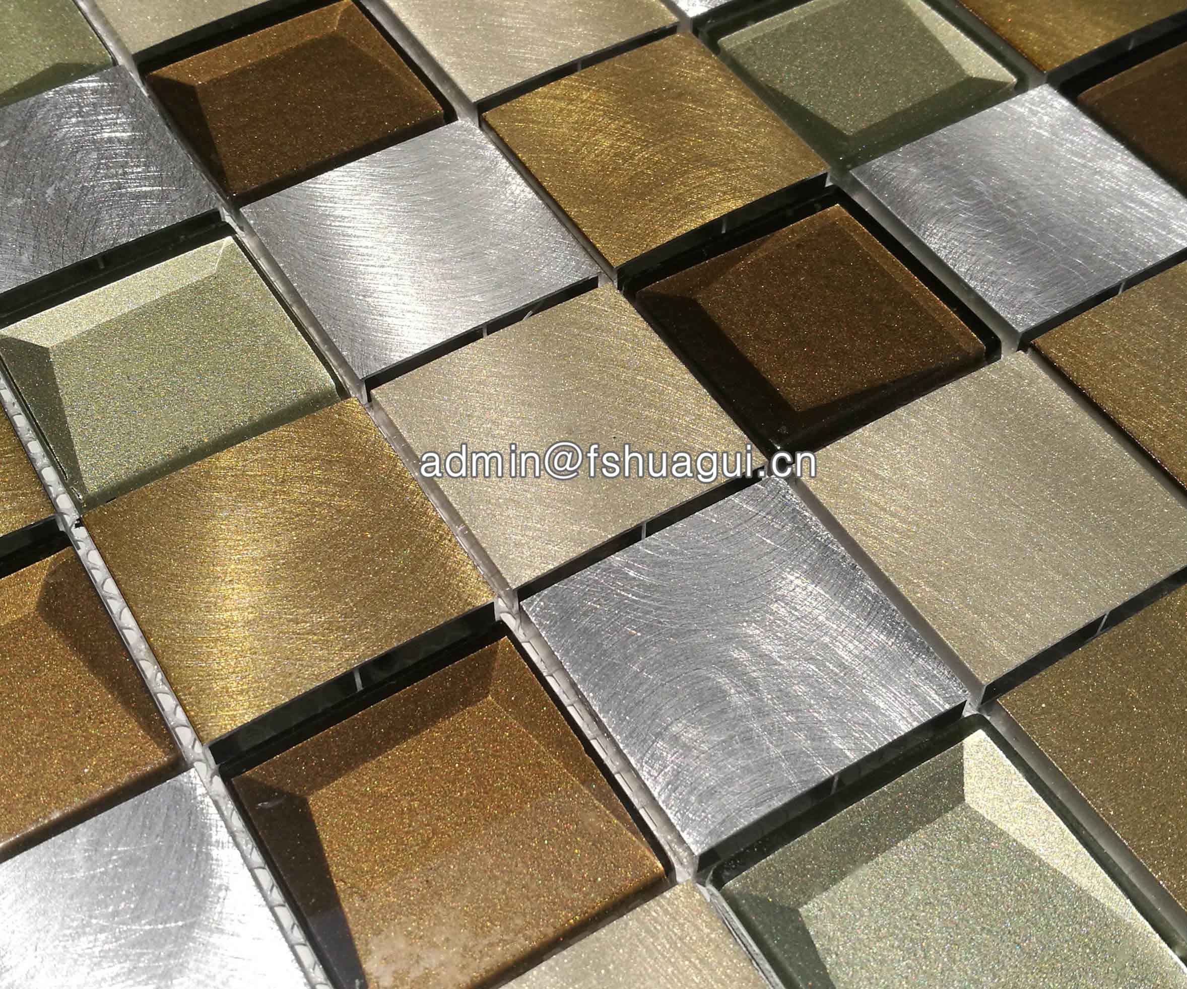 Huagui 3d beveled mosaic blend metal tile backsplash HG-WJ423 METAL MOSAIC TILE image1