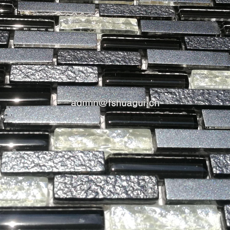 Glossy and matte black raindrop modern brick glass mosaic kitchen walls tiles