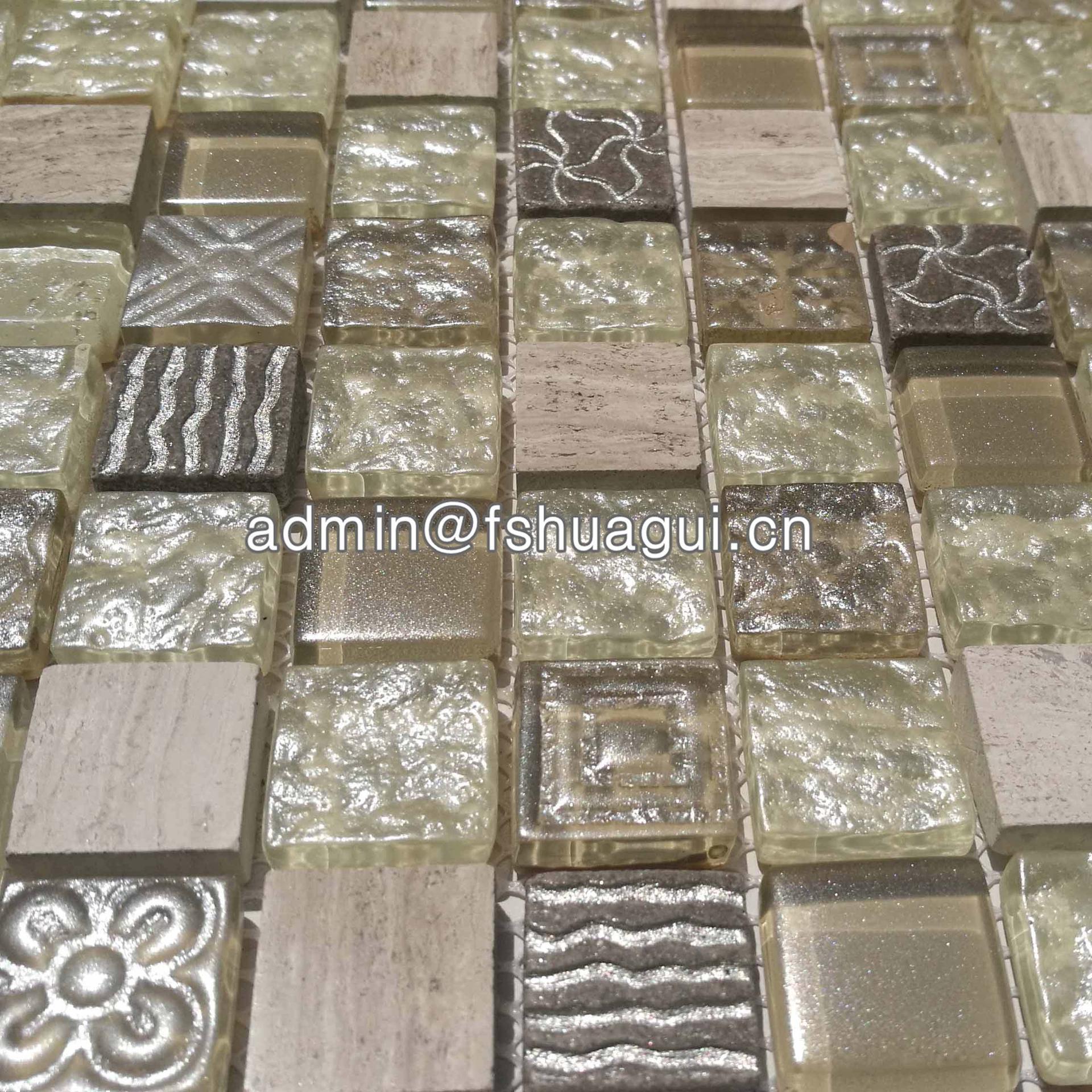 Factory 300 x 300 beige mix crystal glass mosaic tile 8mm HG-WJ420