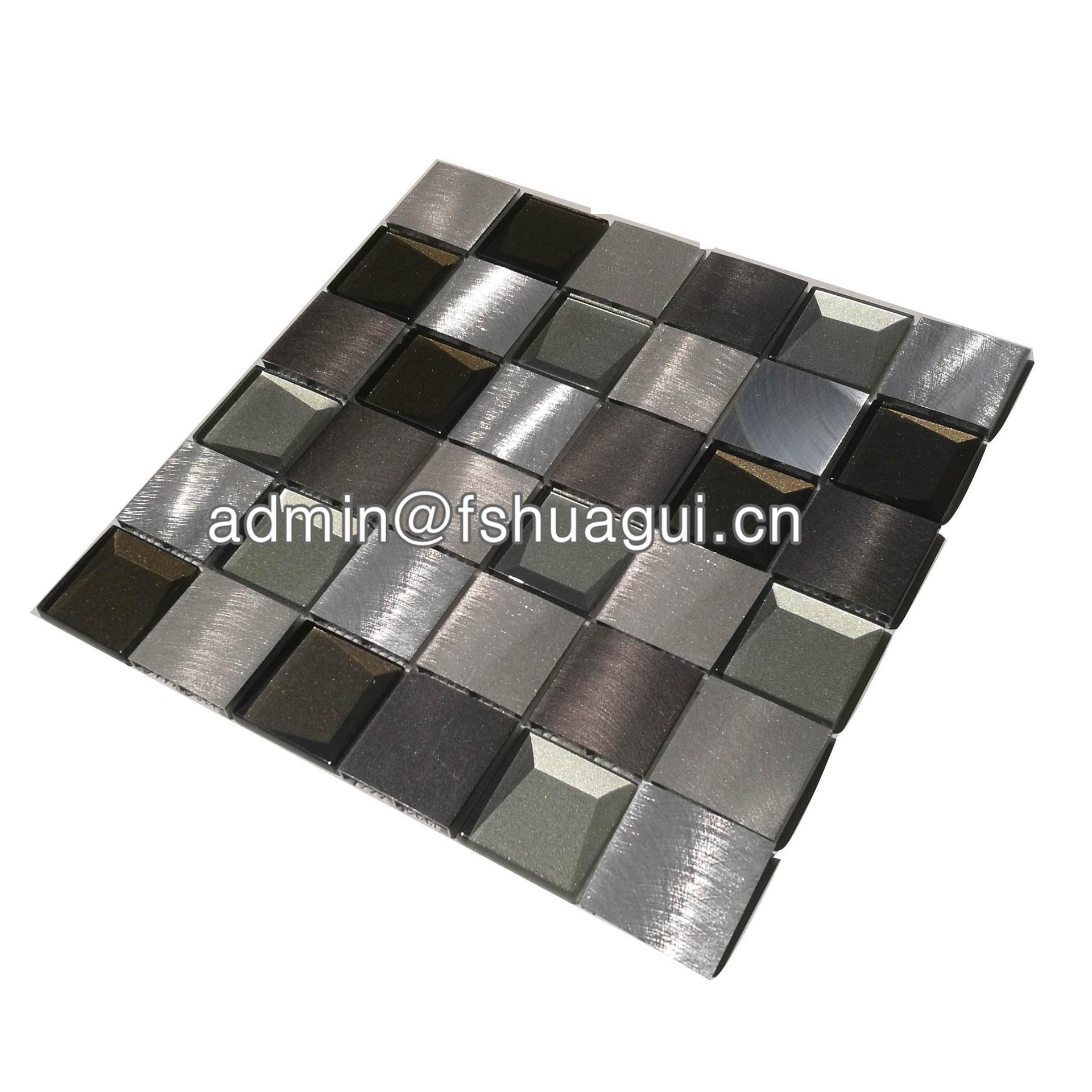 Unique 3d tiles black and silver glass mosaic kitchen tile backsplash 2018 HG-WJ416